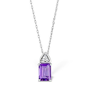 9K White Gold Diamond and Amethyst Drop Necklace