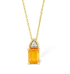 9K Gold Diamond and Fire Opad Drop Necklace