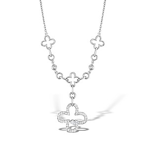 18K White Gold Diamond Link Design Necklace