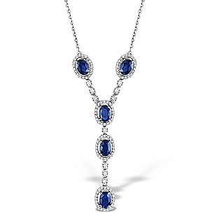 9K White Gold Diamond and Sapphire Necklace 0.61ct