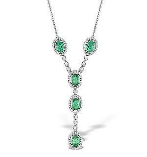 9K White Gold Diamond and Emerald Necklace 0.61ct