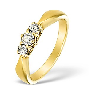 9K Gold Diamond 3 Stone Ring - E3282
