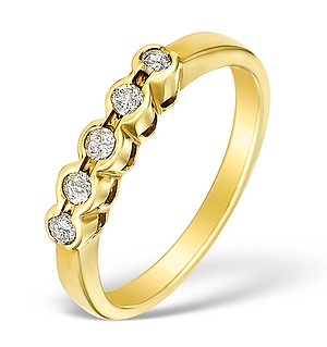 9K Gold Diamond 5 Stone Ring - E3588
