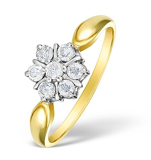 9K Gold Diamond Set Cluster Ring - E3816