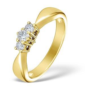 9K Gold Diamond 3 Stone Ring - E3920