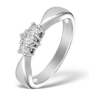 9K White Gold Diamond 3 Stone Ring - E3921