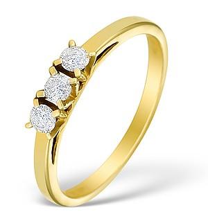 9K Gold Diamond 3 Stone Ring - E3975