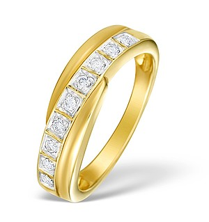 9K Gold Diamond Set Crossover Ring - E3981