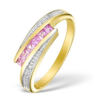 9K Gold Diamond and Pink Sapphire Crossover Ring - E4565