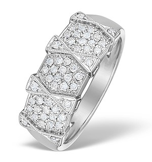 9K White Gold Diamond Pave Set Ring - E4588
