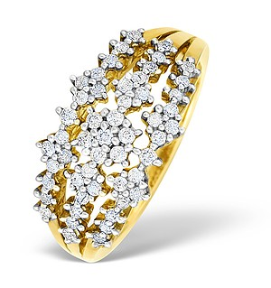 9K Gold Diamond Flower Design Ring - E4507