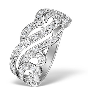 9K White Gold Diamond Intricate Design Ring - E4500