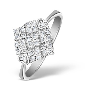 9K White Gold Diamond Pave Set Ring - E4636