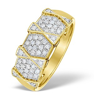 9K Gold Diamond Pave Design Ring - E4618
