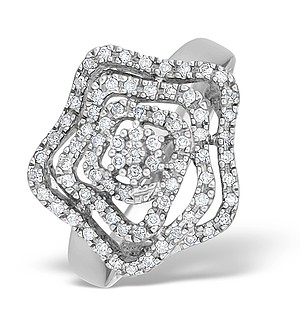 9K White Gold Diamond Flower Design Ring - E4611