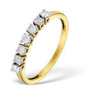 9K Gold Diamond Claw Set 7 Stone Ring - E4733