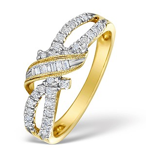 9K Gold Diamond Intricate Design Ring - E4760