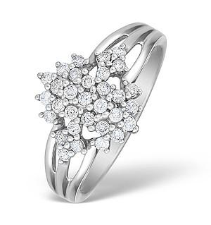 9K White Gold Diamond Cluster Design Ring - E4792