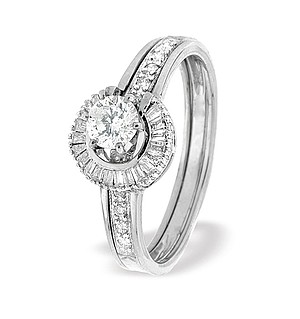 9K White Gold Round Style Baguette Ring Mount with Shoulder Detail