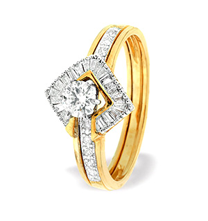 9K Gold Square Style Baguette Ring Mount with Shoulder Detail