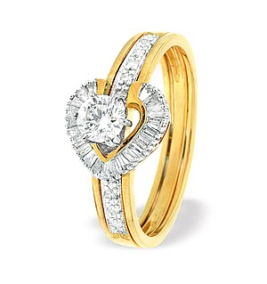 9K Gold Heart Style Baguette Ring Mount with Shoulder Detail