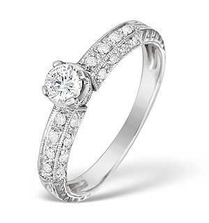 9K White Gold Diamond Pave Set Ring - E4834