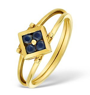 9K Gold Diamond and Sapphire Design Ring - E4851