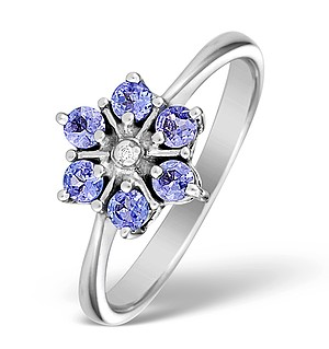 9K White Gold Diamond and Tanzanite Flower Design Ring - E4943