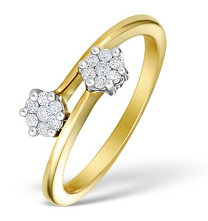9K Gold Diamond Cluster Twist Ring - E4970