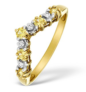9K Gold Diamond and Yellow Sapphire Wishbone Ring - E4990