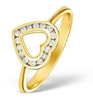 9K Gold Diamond Heart Ring - E4905