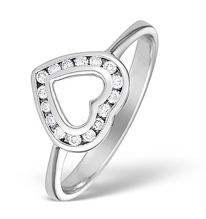 9K White Gold Diamond Heart Ring - E4906