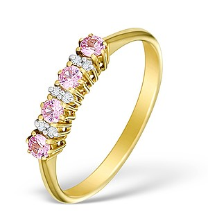 9K Gold Diamond and Pink Sapphire Half Eternity Ring - E4025