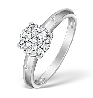 9K White Gold Diamond Cluster Ring - E4057