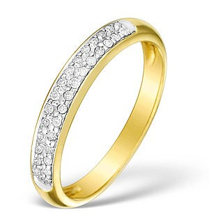 9K Gold Diamond Half Eternity Ring - E4063