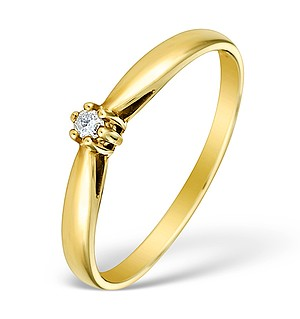 9K Gold Diamond Solitaire Ring - E4066