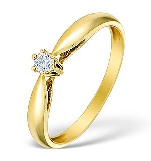 9K Gold Diamond Solitaire Ring - E4067