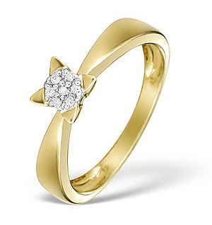 9K Gold Diamond Cluster Ring - E4061