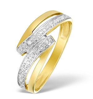 9K Gold Diamond Crossover Ring - E4074