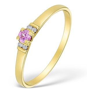 9K Gold Diamond and Pink Sapphire Solitaire Style Ring - E4076