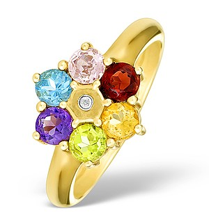 9K Gold Diamond and Multi Stone Ring - E4079