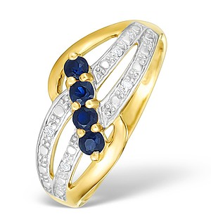 9K Gold Diamond and Sapphire Design Ring - E4070