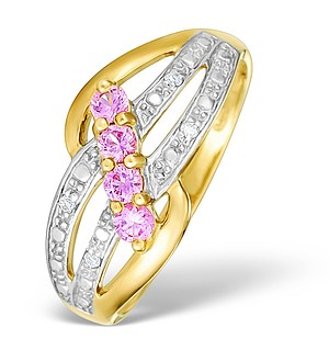 9K Gold Diamond and Pink Sapphire Design Ring - E4071