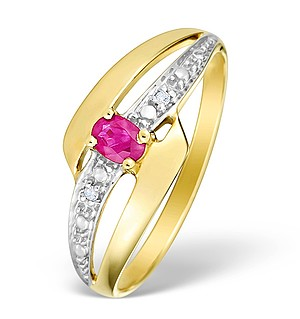 9K Gold Diamond and Ruby Design Ring - E4082