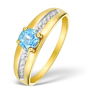 9K Gold Diamond and Blue Topaz Ring - E4083