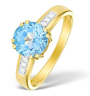 9K Gold Diamond and Blue Topaz Solitaire Ring - E4086