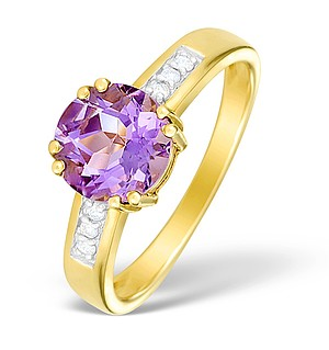 9K Gold Diamond and Amethyst Solitaire Ring - E4095
