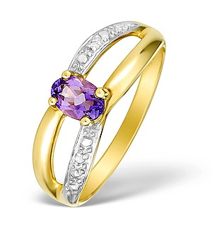 9K Gold Diamond and Amethyst Design Ring - E4096