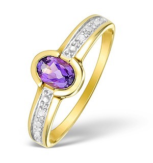 9K Gold Diamond and Amethyst Solitaire Ring - E4099