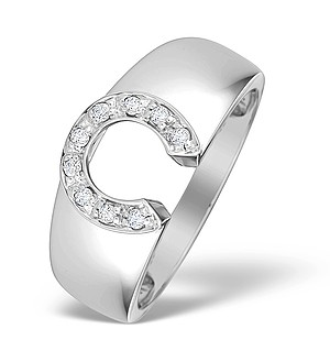 9K White Gold Diamond Horseshoe Design Ring - E4014